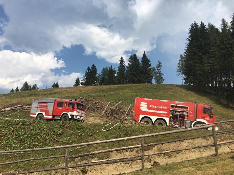 Waldbrand am Roßeck in Bruck an der Mur, Ortsteil Oberaich